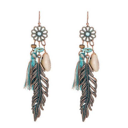 Ohrringe Edelstahl Traumfänger Blume mit Federn und Venusmuschel