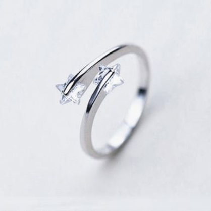 Verstellbare Größe Ring 2 Zirkoniumoxid Silber 925