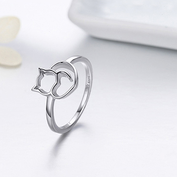 Ring 925 Silber Katze mit Herz